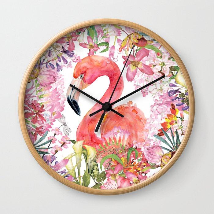 Flamingo in Tropical Flower Jungle Wall Clock