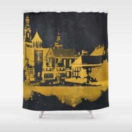 Krakow skyline gold black #cracow Shower Curtain