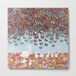 bunnies, flowers, and butterflies Metal Print