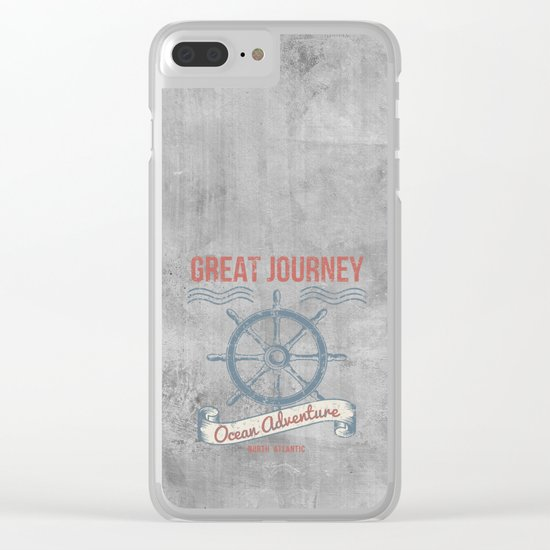 Maritime Design- Great Journey Ocean Adventure on grey abstract background #Society6 Clear iPhone Case