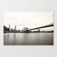 brooklyn bridge Canvas Prints featuring Brooklyn Bridge by Caroline Mint