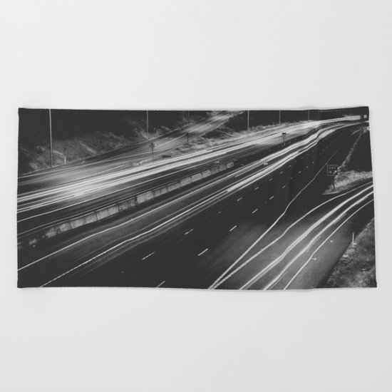 Seattle at Night - Black and White Beach Towel