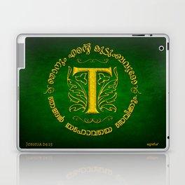 Joshua 24:15 - (Gold on Green) Monogram T Laptop & iPad Skin