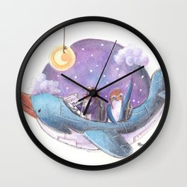 Penguin couple fly a starry purple sky in their penguin airplane! Wall Clock