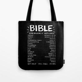 Bible Emergency Hotlines Tote Bag