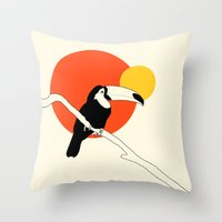 toucan Throw Pillows featuring Toucan by Rebekhaart