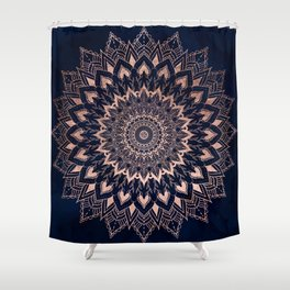Boho rose gold floral mandala on navy blue watercolor Shower Curtain