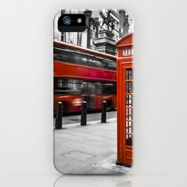 London Bus and Telephone Box in Red iPhone Case