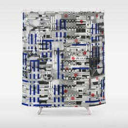 The Way of Invisible Things (P/D3 Glitch Collage Studies) Shower Curtain
