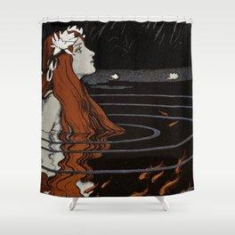 Franz Heinz illustration from Die Rheinlande - 1900 Magical Mermaid Mistical Fish Shower Curtain