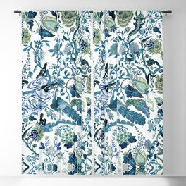 Blue vintage chinoiserie flora Blackout Curtain