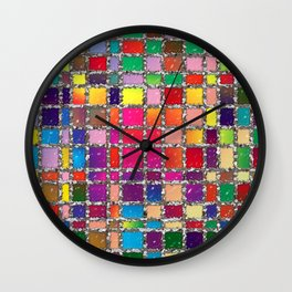 Stained Glass Window Multicolour Pattern Wall Clock