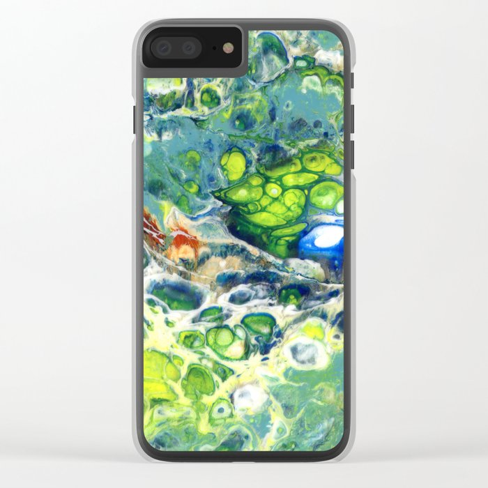 Green Blue Turquoise Lava Flow Cell Clear iPhone Case