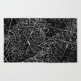 Black and white leaf pattern Rug