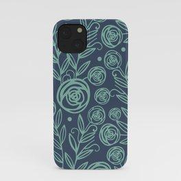 Indigo Blue Mint FLowers iPhone Case