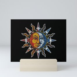 Celestial Mosaic Sun and Moon Mini Art Print
