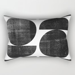 Black and White Mid Century Modern Circles Abstract Rectangular Pillow