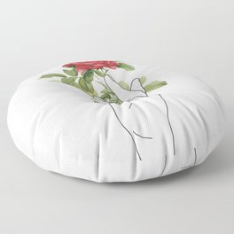 Flower in the Hand Floor Pillow