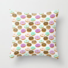 Donuts - junk food treat funny illustration with happy food face doughnuts pastry bakery Throw Pillow