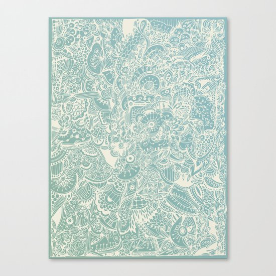 Detailed rectangle, light blue Canvas Print