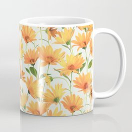 Painted Radiant Orange Daisies on off-white Coffee Mug