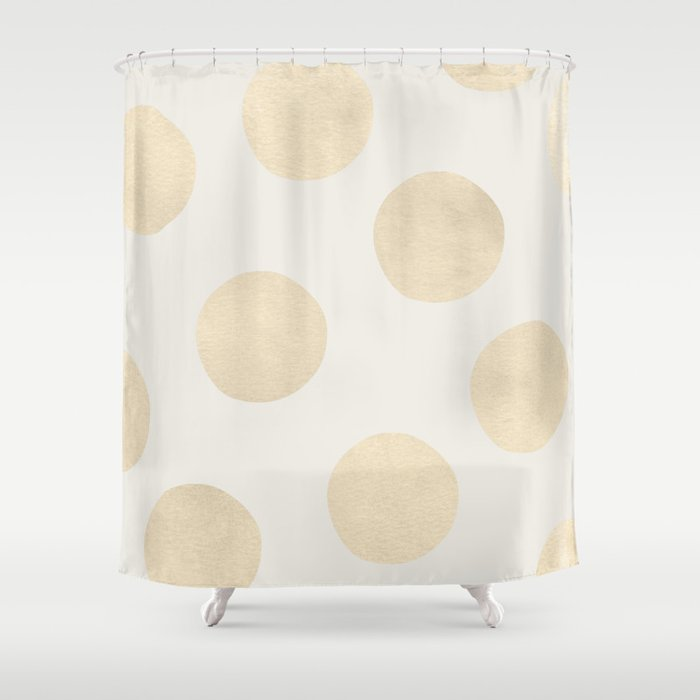 Gold Polka Dots Shower Curtain By Georgianaparaschiv