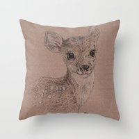 fawn Throw Pillows featuring Fawn by Fruzsina Kuhari