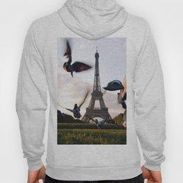 Paris Eiffel tower and flight of birds Hoody