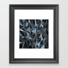 Shattered Soft Dark Blue Framed Art Print