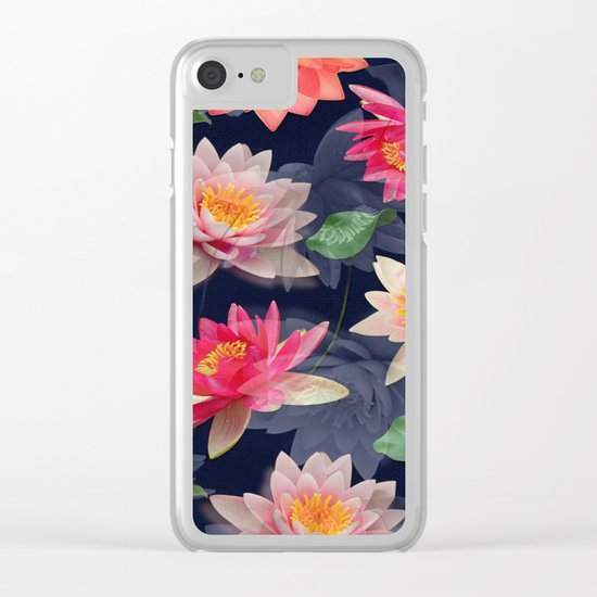 Lotus Flower Pattern #2 Clear iPhone Case