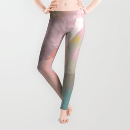 Shapes and Layers no.16 - Watercolor and pastel abstract painting Leggings