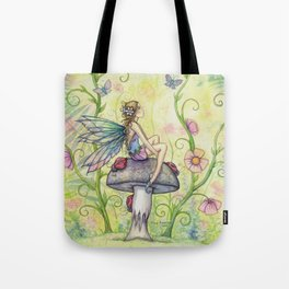 A Happy Place Flower Fairy Fantasy Art by Molly Harrison Tote Bag