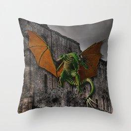 Dragon & Castle Artwork Throw Pillow