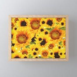 Wild yellow Sunflower Field Illustration Framed Mini Art Print