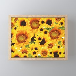 Wild yellow Sunflower Field Illustration Framed Mini Art Print