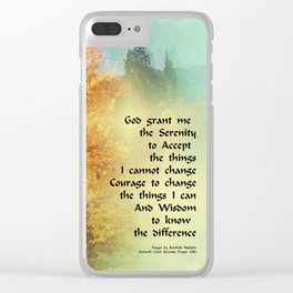 Serenity Prayer Autumn Trees on Green Clear iPhone Case