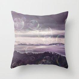 Mystic Landscape With Soap Bubbles Throw Pillow