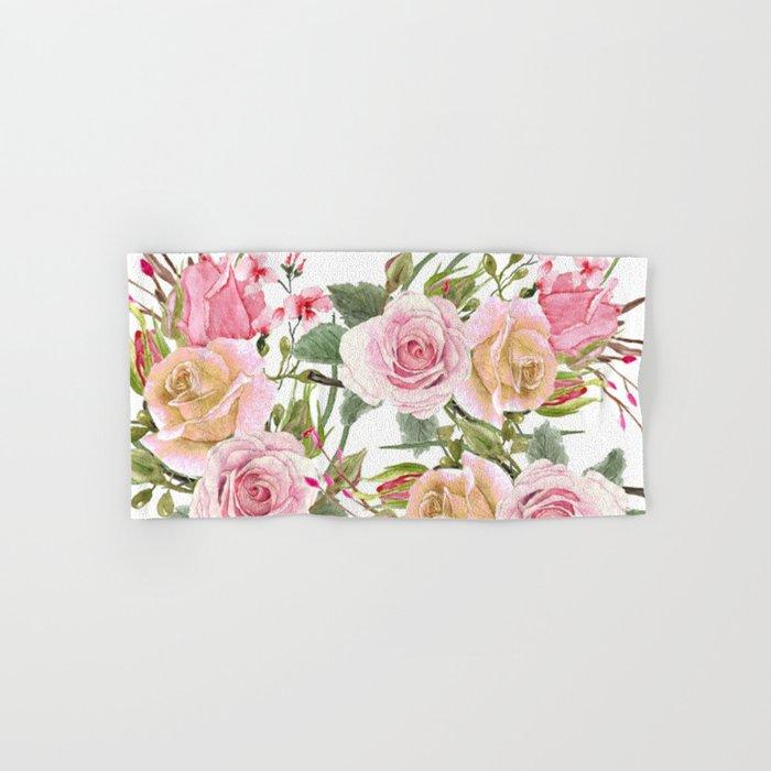 Watercolor Roses #1 Hand & Bath Towel