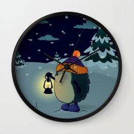 Hedgehog Jan in the winter night Wall Clock