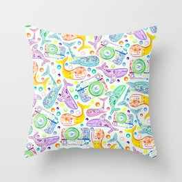 Whale Watching on Green Throw Pillow
