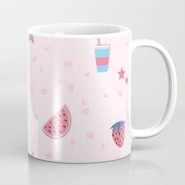 Summer Seamless Pattern. Stylized Summer Elements with shadows Coffee Mug