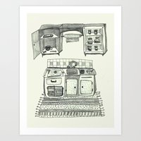 kitchen Art Prints featuring Kitchen by piankaB