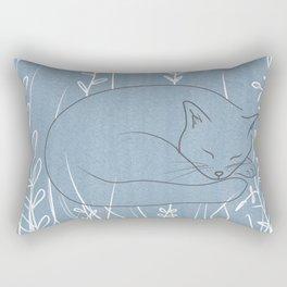 Sleepy Cat - Botanical Blue Rectangular Pillow