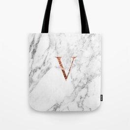 Monogram rose gold marble V Tote Bag
