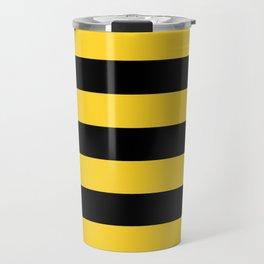 Yellow and Black Honey Bee Horizontal Cabana Tent Stripes Travel Mug