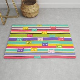Colorful Peeking Cats on stripes Rug