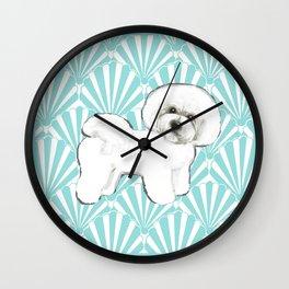 Bichon Frise at the beach / seashell blue Wall Clock