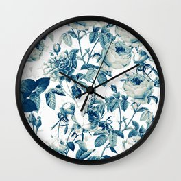 Vintage & Shabby-chic - floral blue roses flowers rose garden Wall Clock