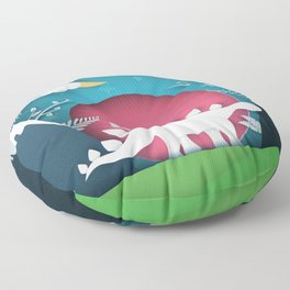 3D Paper Art Dino In the Mountains Floor Pillow