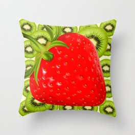GREEN KIWI & RED STRAWBERRY ART Throw Pillow